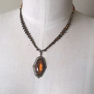 Jewelry - Antique pieces 20's crystal amber necklace